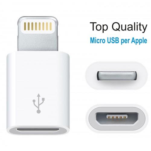Micro USB femmina PER IPHONE 5 6 plus SYNC CARICA IPAD 4 IOS  IPOD 7th 8 pin