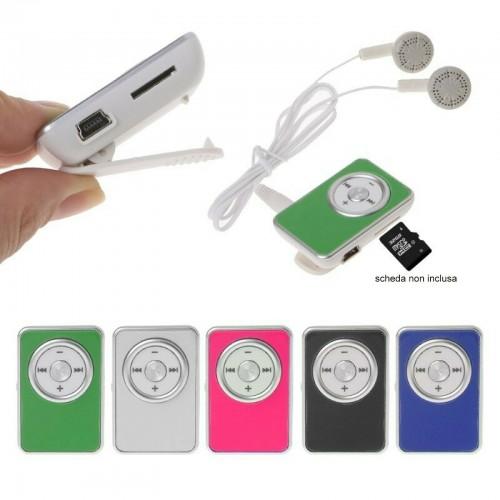 Mini LETTORE PLAYER MP3 con cuffie + cavo USB supporto memoria fino a 32GB