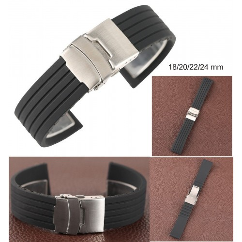 Orologio Cinturini 18- 24mm impermeabile Silicone Rubber Watch Band Strap Clasp