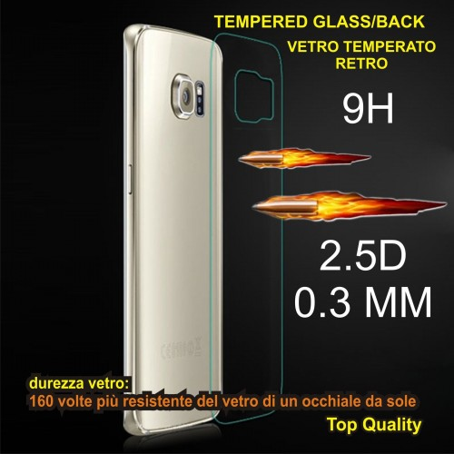 PELLICOLA Back VETRO TEMPERATO tempered glass 0.3MM 9H SAMSUNG GALAXY s6 edge