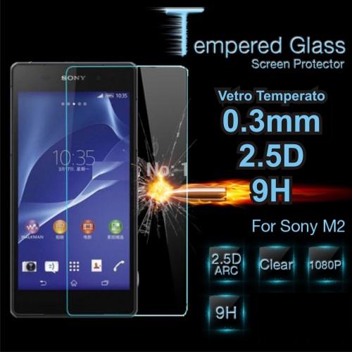 PELLICOLA PROTEGGI SCHERMO in vetro temperato 9H 0.3mm 2.5D per Sony xperia M2