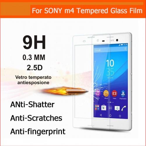 PELLICOLA PROTEGGI SCHERMO vetro temperato 9H 0.3mm 2.5D per Sony xperia M4 Aqua