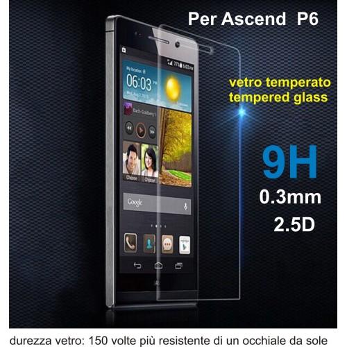 PELLICOLA VETRO TEMPERATO tempered glass per HUAWEI ascend P6 9H 2.5D 0.3MM
