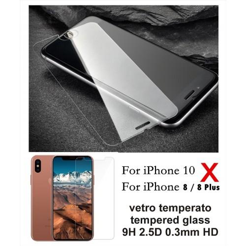 PELLICOLA display TEMPERED GLASS in VETRO TEMPERATO per Apple IPHONE 8 PLUS 10 X