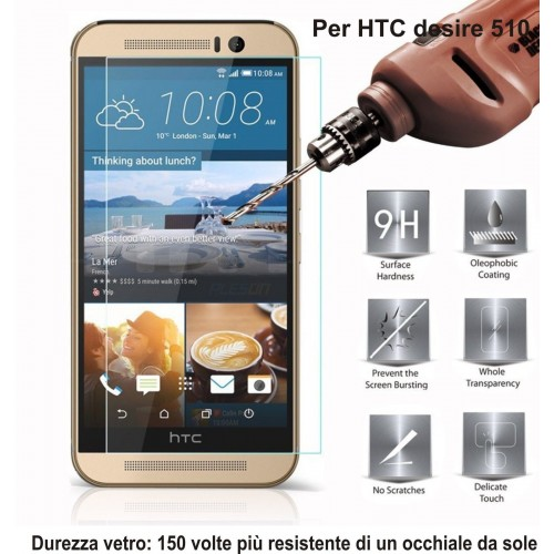 PELLICOLA display temperd glass vetro temperato 0.3mm 9H 2.5D HTC DESIRE 510