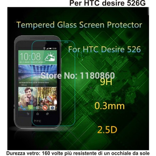PELLICOLA display temperd glass vetro temperato 0.3mm 9H 2.5D HTC DESIRE 526G