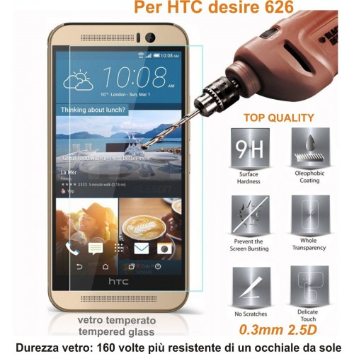 PELLICOLA display temperd glass vetro temperato 0.3mm 9H 2.5D HTC DESIRE 626