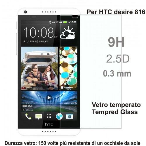 PELLICOLA display temperd glass vetro temperato 0.3mm 9H 2.5D HTC DESIRE 816