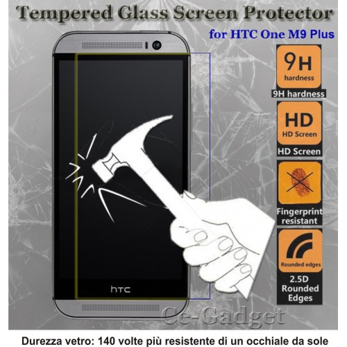 PELLICOLA display temperd glass vetro temperato 0.3mm 9H 2.5D HTC ONE M9+ 5.2