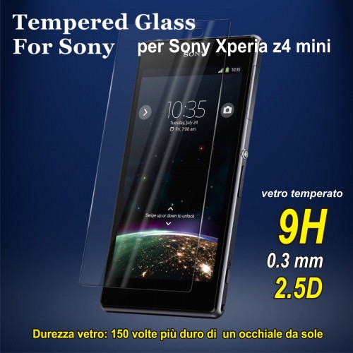 PELLICOLA display tempered glass vetro temperato 9H 0.3 mm Sony xperia Z4 mini