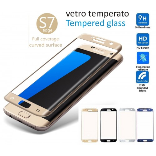 PELLICOLA in VETRO TEMPERATO tempered glass curvo SAMSUNG S6 S7 edge S8 + cover