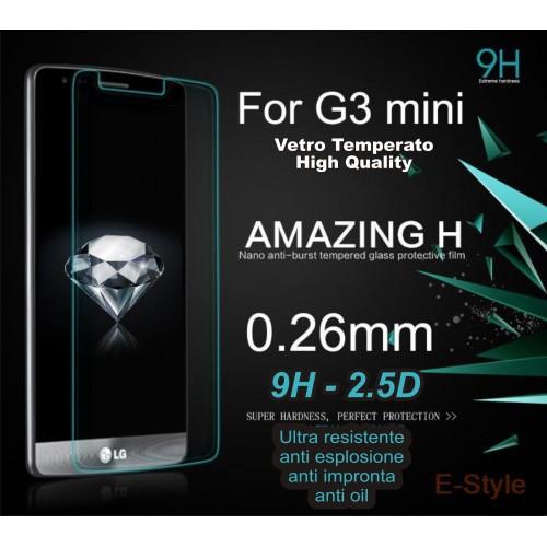 PELLICOLA proteggi schermo in vetro temperato 0.26 9H 2.5D LG G3 mini D722 D724