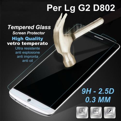 PELLICOLA proteggi schermo in vetro temperato tempered 0.3 9H 2.5D LG G2 D802
