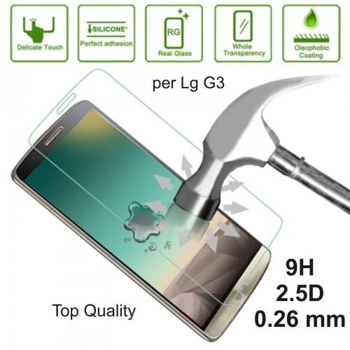 PELLICOLA protettiva display vetro temperato LG G3 tempered glass 9H 0.26mm 2.5D