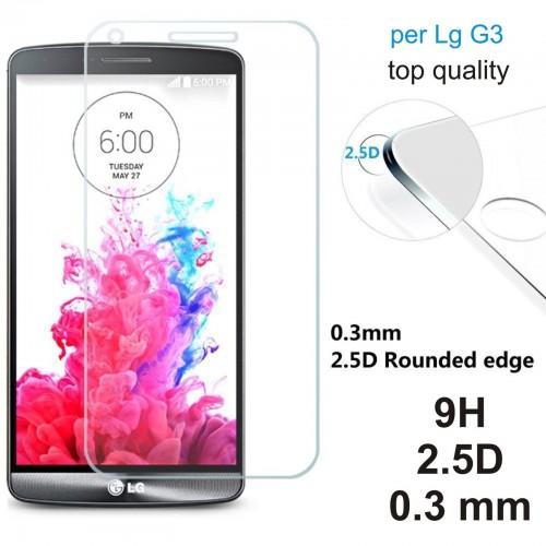 PELLICOLA protettiva display vetro temperato LG G3 tempered glass 9H 0.3mm 2.5D
