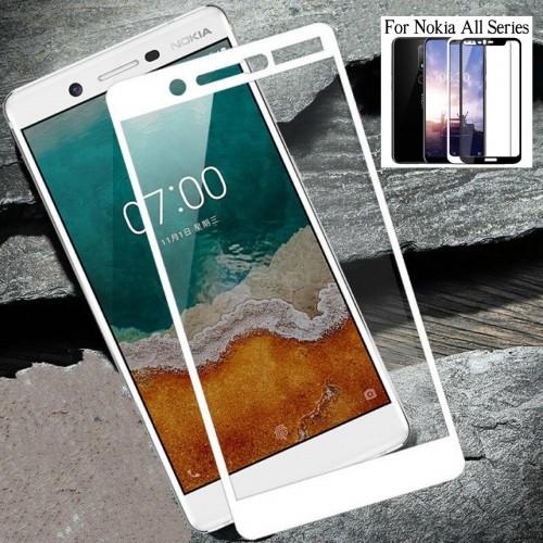 PELLICOLA protezione in vetro temperato bianco per Nokia 1 2 3 5 6 7 8 9 X5 X6