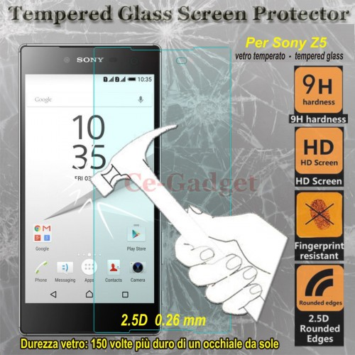 PELLICOLA tempered glass in vetro temperato 9H 0.26 2.5D per Sony xperia Z5
