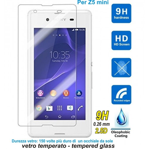 PELLICOLA tempered glass in vetro temperato 9H 0.26 2.5D per Sony xperia Z5 mini