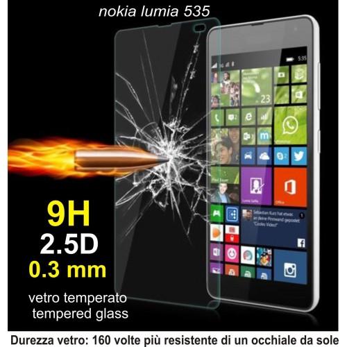 PELLICOLA tempered glass in  vetro temperato 9H 0.3mm 2.5D per Nokia Lumia 535