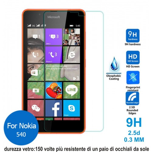 PELLICOLA tempered glass in vetro temperato 9H 0.3mm 2.5D per Nokia Lumia 540