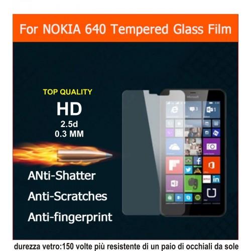 PELLICOLA tempered glass in vetro temperato 9H 0.3mm 2.5D per Nokia Lumia 640 XL