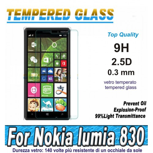 PELLICOLA tempered glass in  vetro temperato 9H 0.3mm 2.5D per Nokia Lumia 830