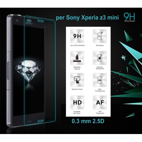 PELLICOLA tempered glass vetro temperato 9H 0.3mm 2.5D Sony xperia Z3 compact