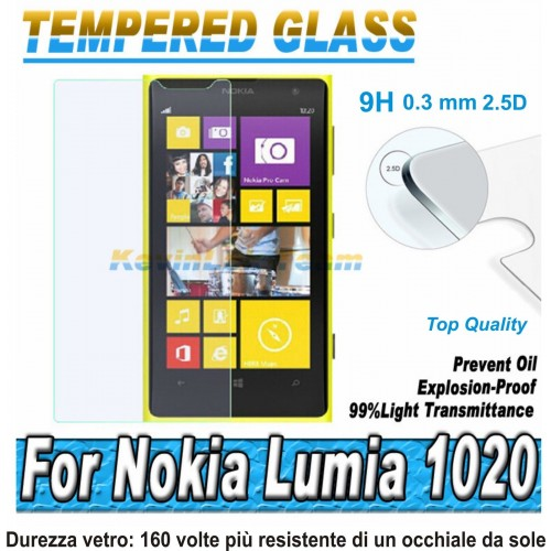 PELLICOLA tempered glass vetro temperato 9H 0.3mm 2.5D per Nokia Lumia 1020
