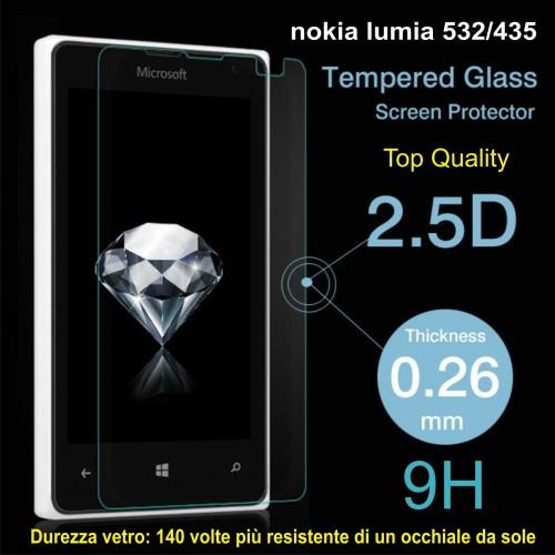 PELLICOLA tempered glass vetro temperato 9H 0.3mm 2.5D per Nokia Lumia 532 - 435
