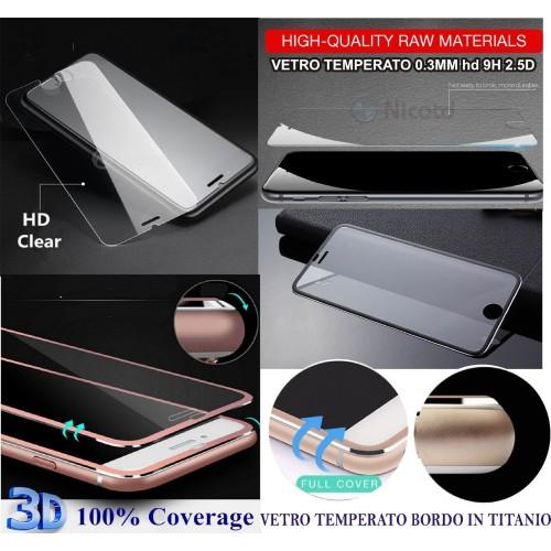 PROTEZIONE DISPLAY in VETRO TEMPERATO bordo titanio per IPHONE 4 5 6 7 8 PLUS X