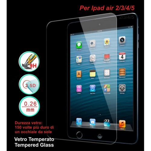 Pellicola vetro temperato tempered glass 9H 0.26mm 2.5D Apple Ipad air 2 3 4 5