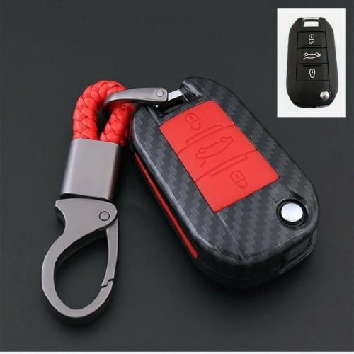 Portachiavi cover silicone fibra di carbonio per Peugeot 301 308 408 2008 5008