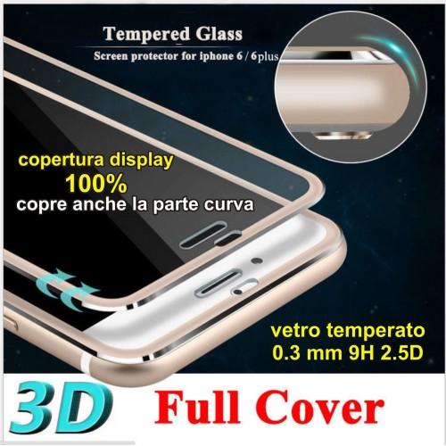 TEMPERED GLASS VETRO TEMPERATO display 3D Curvo per Apple IPHONE 6 7 8 Plus X