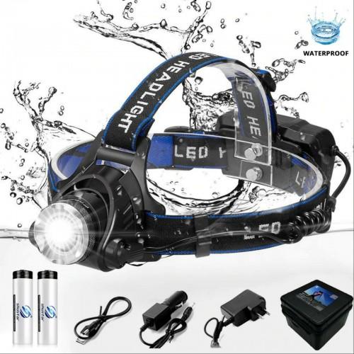 Torcia Elettrica con fascia per la testa LED Ricaricabile impermeabile 4000LM