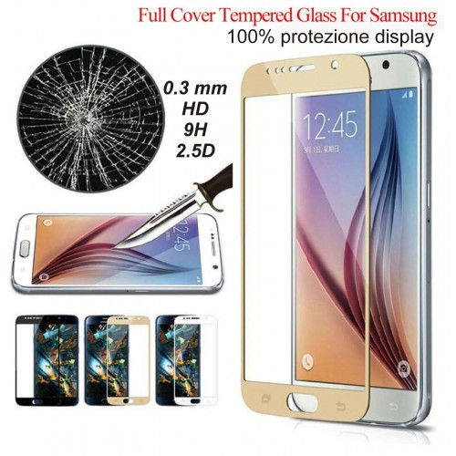VETRO TEMPERATO tempered full glass per SAMSUNG Galaxy A3 A5 A7 J3 J5 J7 2016