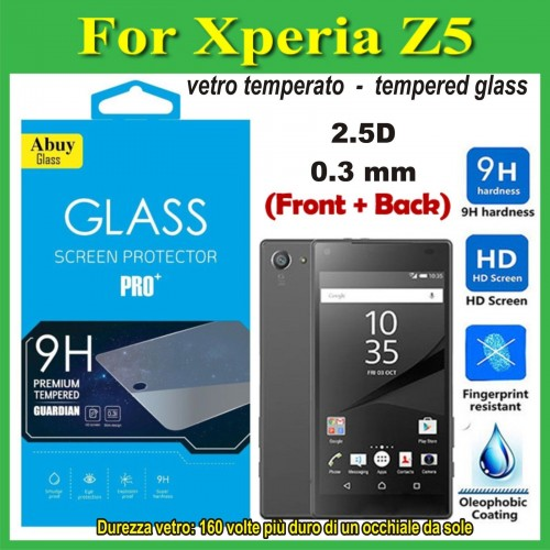 X2 PELLICOLA FRONT/back tempered glass vetro temperato 9H Sony xperia Z5