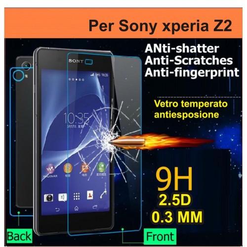 X2 PELLICOLA PROTEGGI SCHERMO vetro temperato 9H 0.3 Sony Xperia Z2 FRONT+back