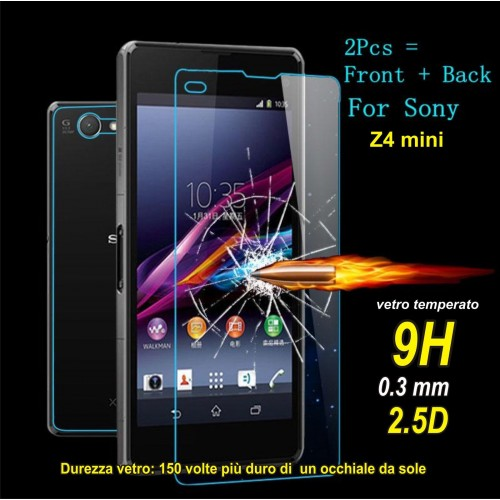 X2 PELLICOLA front+back tempered glass 9H vetro temperato Sony xperia Z4 mini