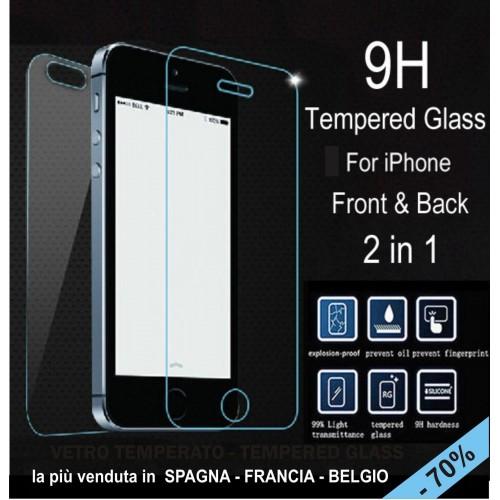 X2 PELLICOLA tempered glass vetro temperato FRONT+BACK per IPHONE 5 5S 9H 2.5D
