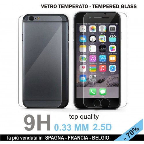 X2 PELLICOLA tempered glass vetro temperato FRONT+BACK per IPHONE 6 6S 9H 2.5D