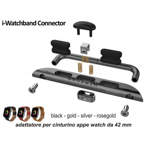 adattatore 1 paio in acciaio per cinturino SPORT BAND Ricambio Apple Watch 42 mm