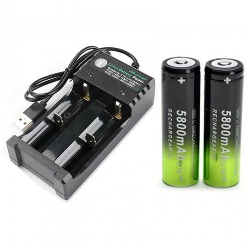 caricabatteria  USB + 2pz BATTERIE ricaricabili 18650 3.7V 5800Mah  avvitatore