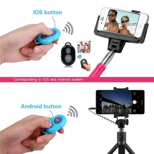 controllo remoto con scatto per asta selfie bluetooth senza fili per IOS Android
