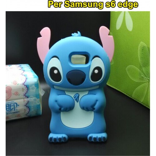 cover custodia case silicone cartoon 3D stitch per samsung galaxy S6 edge