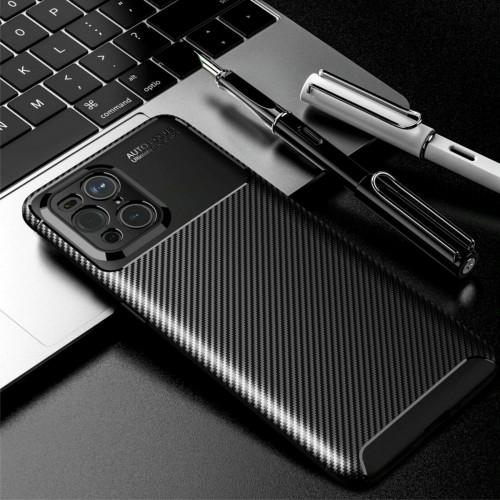 cover custodia silicone in fibra di carbonio per Oppo Find X2 X3 Pro Lite Neo