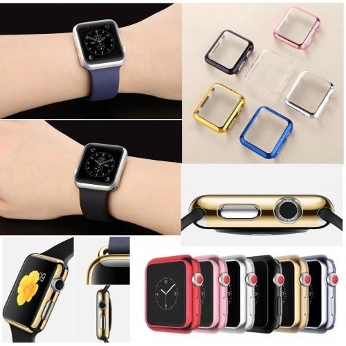 custodia cover protezione display cromo in silicone per apple watch 38mm 42mm