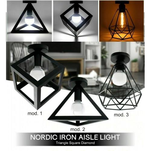 lampada moderna vintage in ferro APPLIQUE SOFFITTO PLAFONIERA + lampadina led 7W