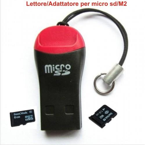 lettore adattatore USB 2.0 Mini Memory Card Reader Micro SD M2 TF T-Flash