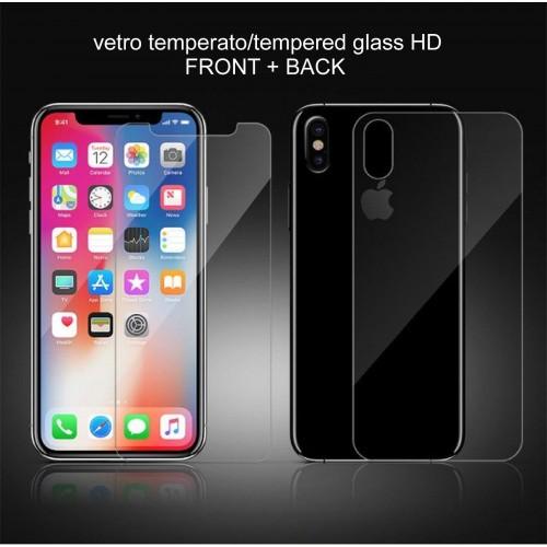 pellicola in vetro temperato HD fronte+retro per apple IPHONE 6 7 8 X XS XR Max