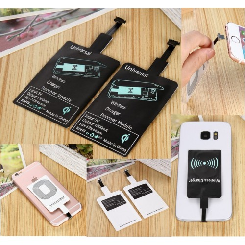 wireless Qi Receiver Caricabatterie per iPhone Android Adattatore Recettore type
